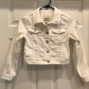 Cherokee Girls White Classic Denim Jacket sz M 7/8
